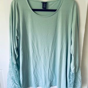 Torrid Long Sleeve Lace Top Mint Green